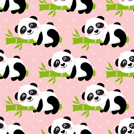 Cartoon Panda on Bamboo trees seamless pattern background. Vector illustration of cute animals on pink backdrop.