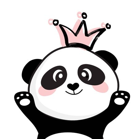Cute panda face with pink crown. Princess girl asian bear illustration. Vector for children print design, kids t-shirt, baby wear