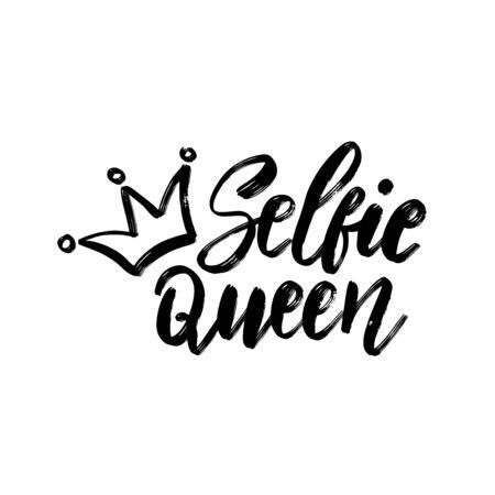 Selfie Queen. Typography poster. Conceptual handwritten text. Hand lettering brush script word design.  イラスト・ベクター素材