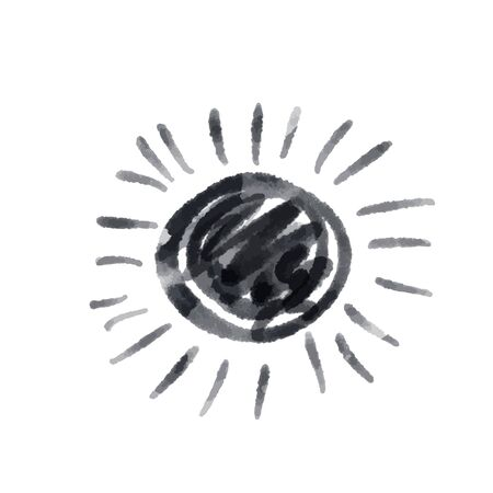 Cute cartoon drawing sun . Vector black and white symbol. Isolated hand drawn monochrome doodle icon on white background. Иллюстрация