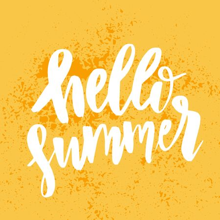 Hello Summer. Bright logo Templates.Typographic Label. Holidays lettering for invitation, greeting card, prints and posters.