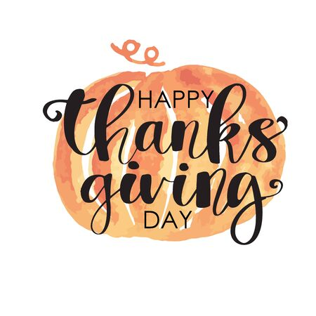 Hand drawn Happy Thanksgiving typography poster. Celebration text with berries and leaves for postcard, icon or badge. Vector calligraphy lettering holiday quote 일러스트