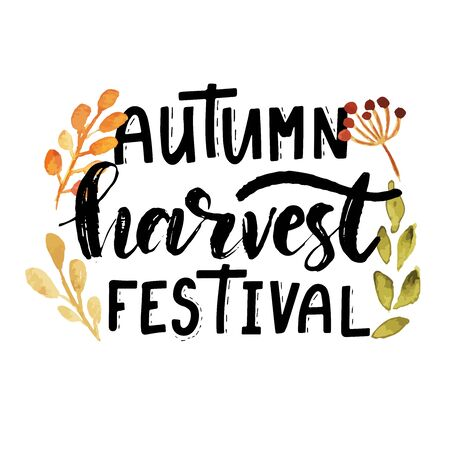 Hand sketched autumn lettering Harvest Festival Modern brush calligraphy. Handwritten vector illustration isolated on white background for cards, posters, banners, logo, tags. 일러스트