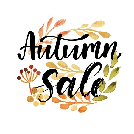 Autumn seasons sale, leaves of bouquet, handmade painted, abstract vector illustration, nature design art  イラスト・ベクター素材