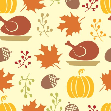 Happy Thanksgiving Day seamless pattern with holiday objects.