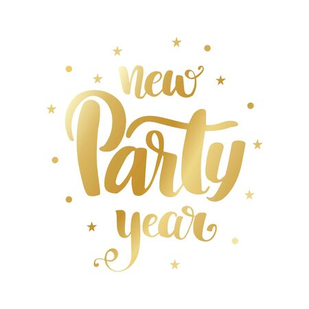 Vector golden text on white background. Happy New Year Party lettering for invitation and greeting card, prints and posters. Hand drawn inscription, calligraphic design