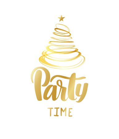 Bright vector golden text on white background. Party time lettering for invitation and greeting card, prints and posters. Hand drawn inscription, calligraphic design. Stock Illustratie