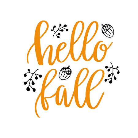 Hello fall hand lettering phrase on orange watercolor maple leaf background  イラスト・ベクター素材