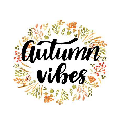 Hello autumn hand lettering phrase on orange watercolor maple leaf background