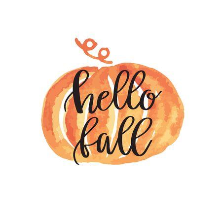 Hello fall hand lettering phrase on orange watercolor pumpkin background  イラスト・ベクター素材