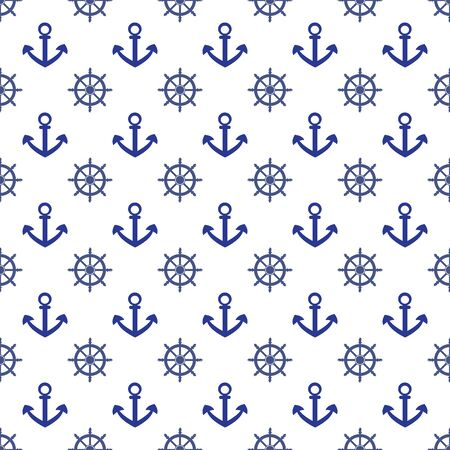 Seamless pattern with blue anchor and wheel on a white background. Marine print for textile, clothing, wallpaper, scrapbooking. Nautical vector illustration