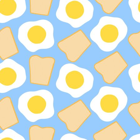 Morning breakfast seamless pattern with fried eggs and toast. Cartoon illustration on blue background. Vector background for textile scrapbooking, wallpaper design