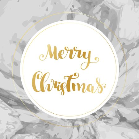 Merry christmas holiday lettering text card with gold details on marble modern luxury background. Vector illustration