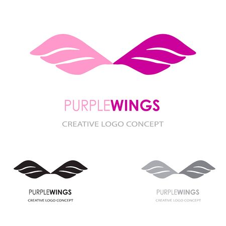 Wings logo template. Abstracr vector logotype symbol for your business company. Differernt colors version