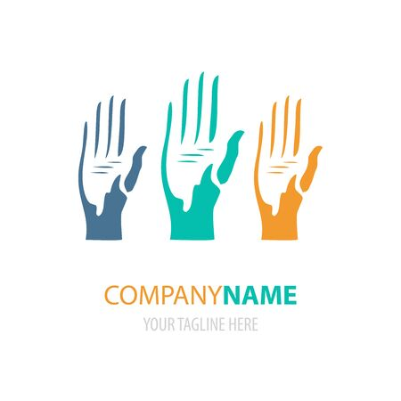 Colorful bright hands logo design. Vector illustration of human arms logotype, sign or symbol Illustration