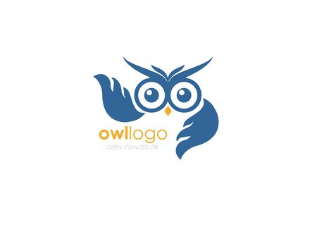 Owl Bird with big wings, Infinity Wise, Vector Symbol. Blue illustration on white background
