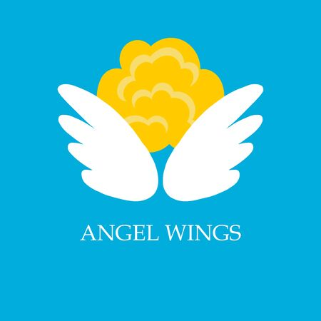 Abstract Vector icon Design Template. Angel head and white wings on blue background