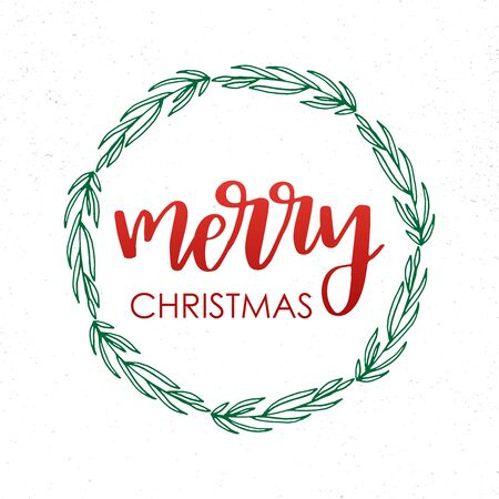 Christmas and new year doodle wreath with lettering text