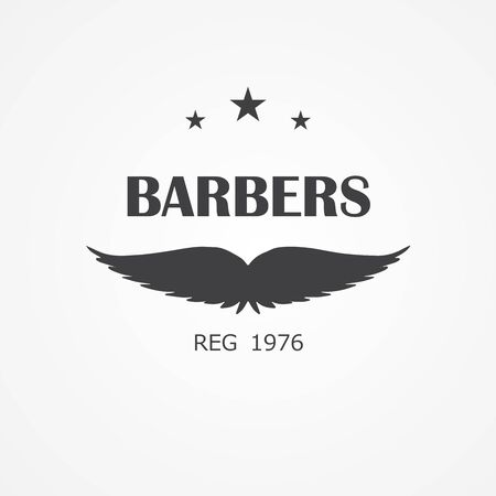 vintage icon for barbershop, hair salon with hipster mustaches.