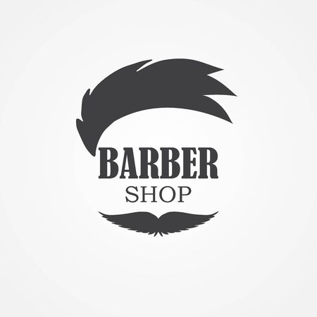 Logo for barbershop, hair salon with hipster haircut and mustaches. Vector Illustration for logotype