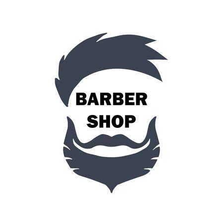 Logo per barbiere, parrucchiere con taglio di capelli hipster, barba e baffi. Illustrazione vettoriale per logotipo