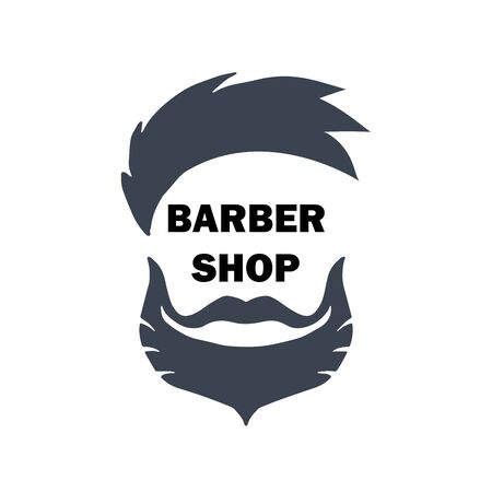 Logo for barbershop, hair salon with hipster haircut, beard and mustaches. Vector Illustration for logotype