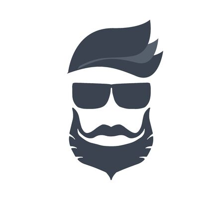 Logo for barbershop, hair salon with hipster haircut, beard and mustaches. Vector Illustration for logotype Reklamní fotografie - 133892178