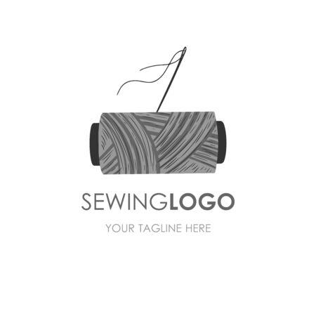 Logo de couture artisanale. Logotype de fil et d'aiguille.