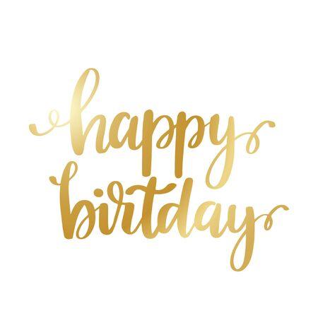 Feliz cumpleaños - diseño de letras brillantes de oro Ilustración de vector
