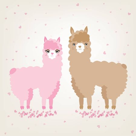 A couple of cute animals llama and alpaca in love standing on a pink hearts background. Vector illustration for valentines card wedding invitation