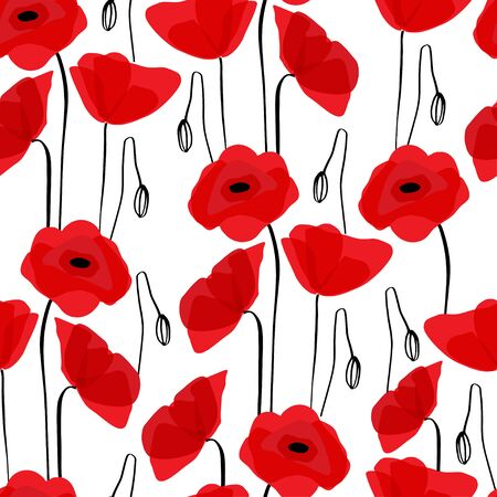 Poppy seamless pattern. Red poppies on white background. Can be uset for textile, wallpapers, prints and web design. Vector illustration. Illusztráció