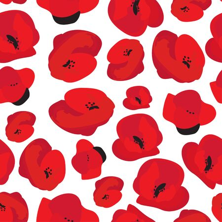 Poppy seamless pattern. Red poppies on white background. Can be uset for textile, wallpapers, prints and web design. Vector illustration. 矢量图像