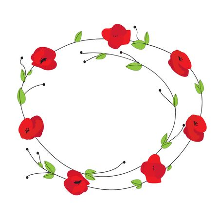 Floral wreath with poppies