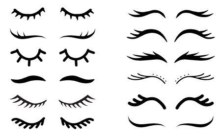 Vector unicorn eyelashes set. Closed eyes symbol. Icon bundle. Cute girly design.