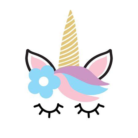 Happy unicorn face vector. Hand drawn style. Birthday decoration theme illustration.