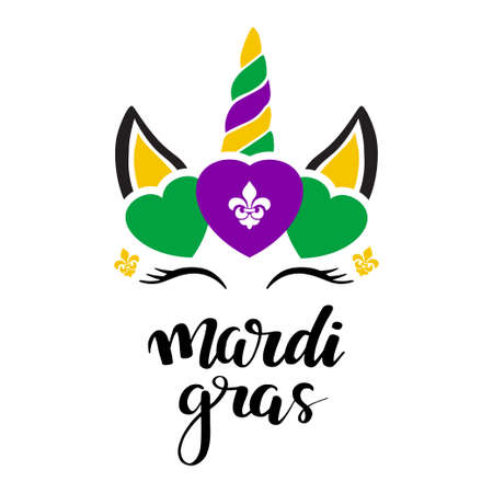 Mardi gras holiday print for tshirt, poster, baby clothing, card.