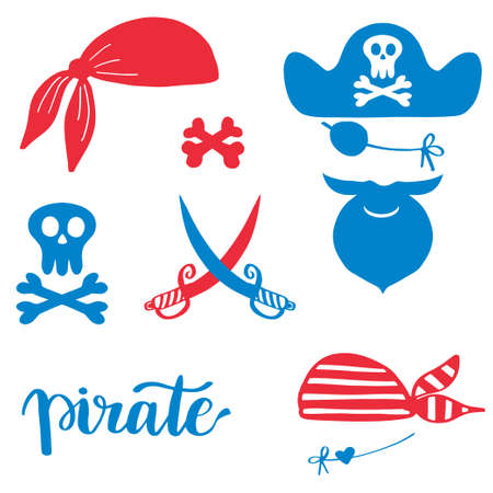 Pirates icons, signs and symbols set. Hat, beard man, sables, bandana, skull and crossbones, Vector doodle illustration isolated on white background Vettoriali