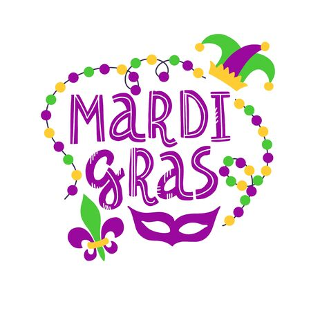 Vector handwritten lettering card with text Mardi Gras, beads, mask, lily and hat in traditional holiday colors isolated on white background Stock Illustratie