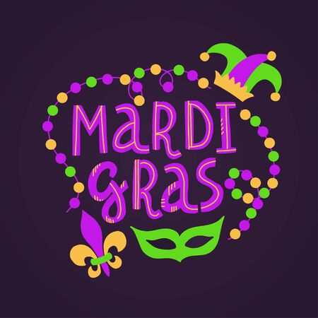 Vector handwritten lettering card with text Mardi Gras, beads, mask, lily and hat in traditional holiday colors on dark violet background
