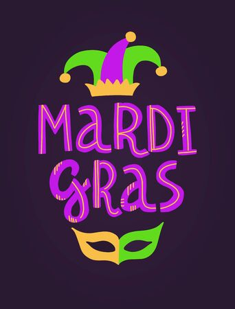 Vector handwritten lettering card with text Mardi Gras, beads, mask and hat in traditional holiday colors on dark violet background