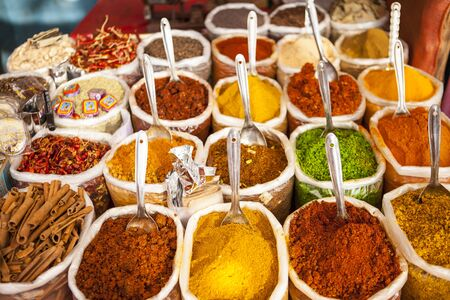 Oriental spicy seasonings Spice Indian bazaar Anjuna Market Goa
