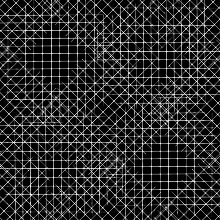 Vector seamless pattern with Irregular abstract linear grid. Graphical hand drawn background. Grunge monochrome texture