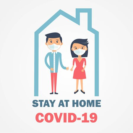 Shelter in place icon. Pandemic of coronavirus and social distancing symbol. Stay at home Covid-19 text and people in mask in house  . Self isolation in home poster, banner, card design, social media