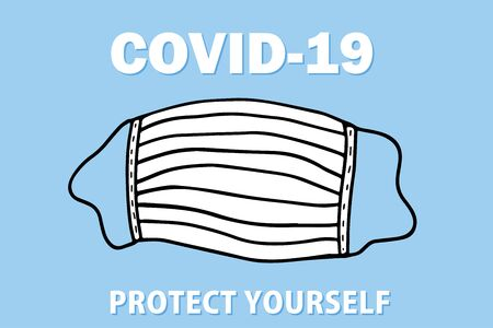 Coronavirus mask on blue background. Pandemic and corona virus outbreaks. Covid-19 concept vector illustration