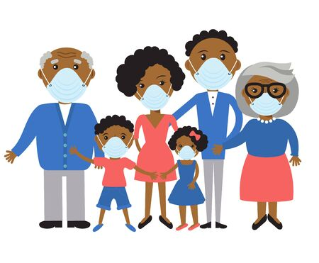 family wearing protective Medical mask for prevent virus Covid-19.