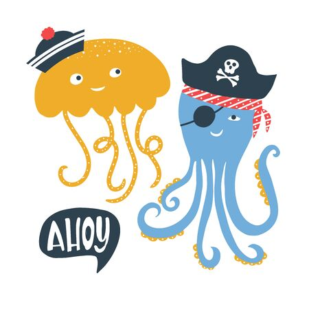 Vector illustration with pirate word Ahoy lettering and sea animals with pirate s hat, cap, scull and bones. Kids emblem. Textile fabric print for tshirt, clothing stationery. Vettoriali