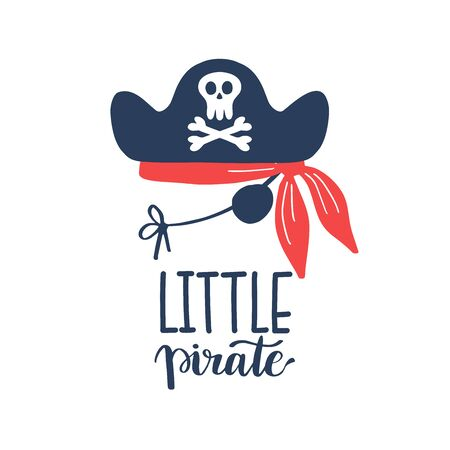 Vector illustration Little pirate lettering with pirate s hat and bones. Kids emblem. Textile fabric print