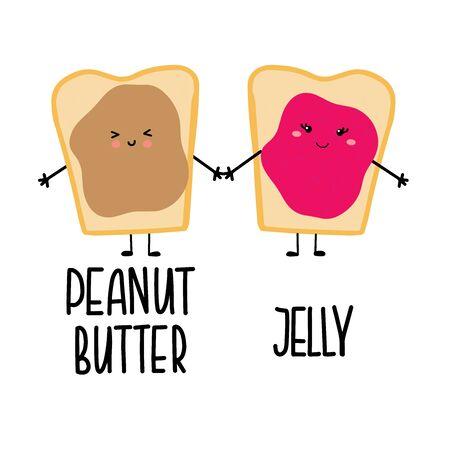 Personnages de dessins animés kawaii mignons d'un sandwich au beurre d'arachide et à la confiture de gelée tenant leurs mains. Illustration vectorielle de concept d'amour ou d'amitié