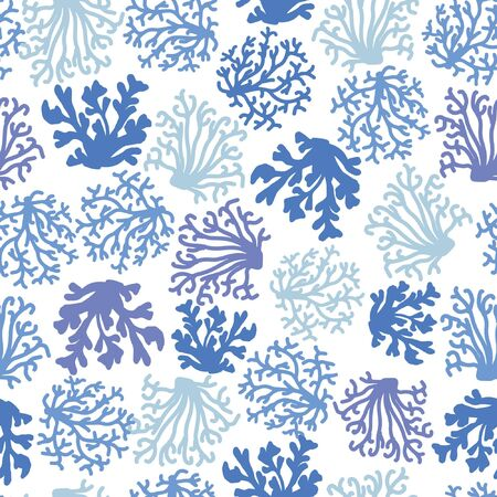 Coral seamless pattern. Blue sea elements on white background in vintage style. Marine ocean reef. Vector illustration.