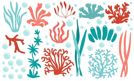 Set of underwater color coral icons. Reef nature marine, aquatic vector illustration Vettoriali